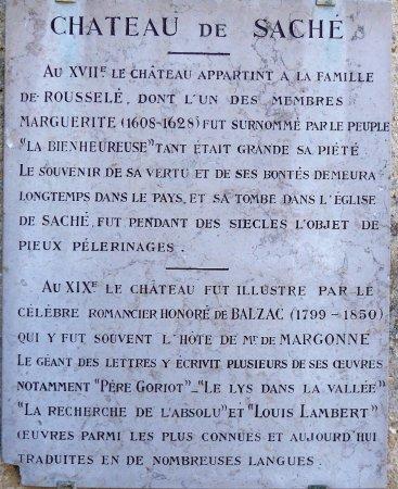 Sache, Frankrig: Plaque explicative