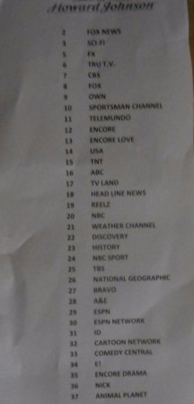 Howard Johnson Corpus Christi: Cable Channel List