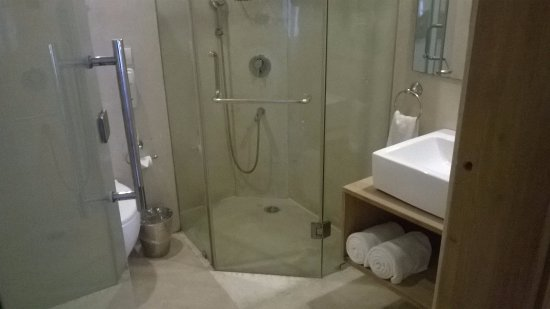 The Visaya: the door to the shower cabinet did not close, wetting the whole bathroom after every use