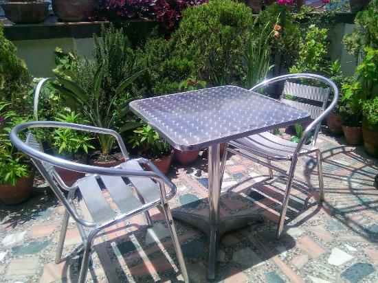 Asmita Bed & Breakfast: Rooftop garden for morning Nepali Masala Tea or cool evening beer