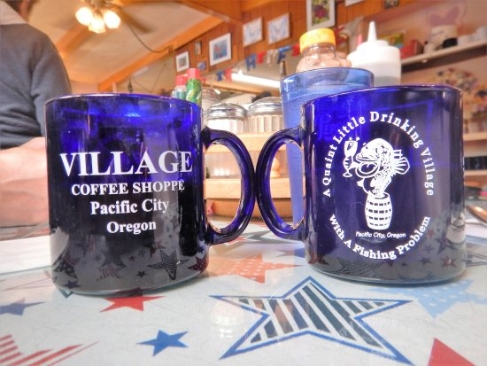 Pacific City, OR: A quaint little drinking village, with a fishing problem~ On the coffee mugs.