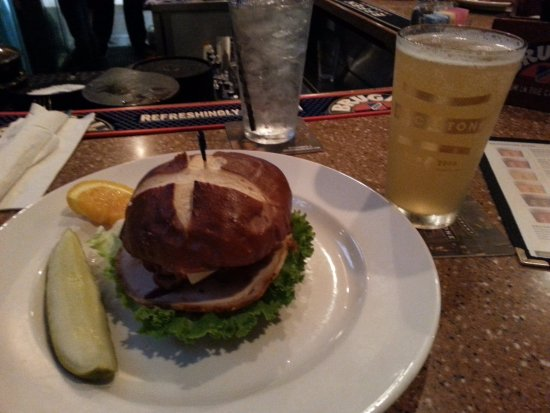 BrickStone Brewery: turkey, avocado, bacon, swiss accompanied by the Forbidden Wheat (wit beer brewed with blood ora