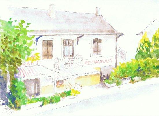 Veigy-Foncenex, Francia: Façade extérieur du restaurant ici en peinture