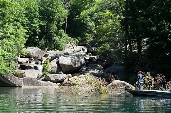 Salem, Carolina del Sur: fisherman looking for large trout near waterfall