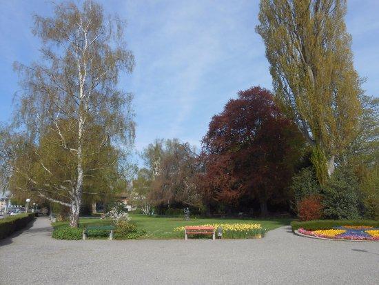 Romanshorn, Schweiz: Tem bancos coloridos para descanso e para apreciar a linda vista do Lago.
