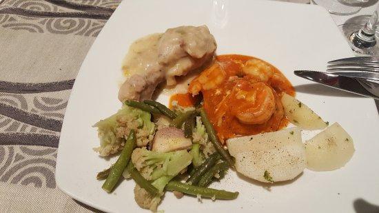 Ebene: Seafood and veggies