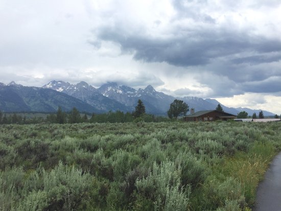 Dornan's Chuckwagon: View over top of Dornan's outfitters building into Grand Teton park from bike trail