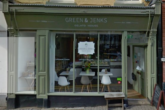 Monmouth, UK: Entrance to Green and Jenks in Monnow Street