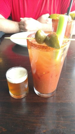 Walloon Lake, MI: Black Water Bloody Mary w/ sidecar