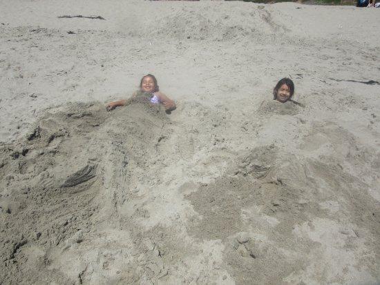 Manresa State Beach: burying the kids