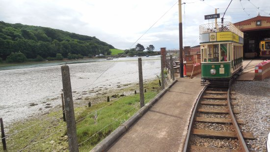 Seaton, UK: Tram shed by the river