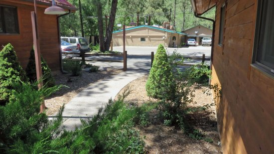 Shadow Mountain Lodge and Cabins: Walk beside cabin to reserved parking area