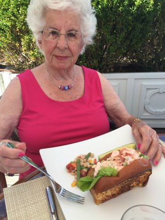 Watch Hill, RI: Lunch at the terrace -- huge lobster roll and healthy shrimp dish.