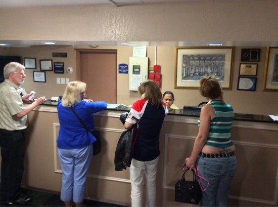 Addison, IL: My wife answering the phone for the non English speaking clerk and the lobby had 30 people waiti