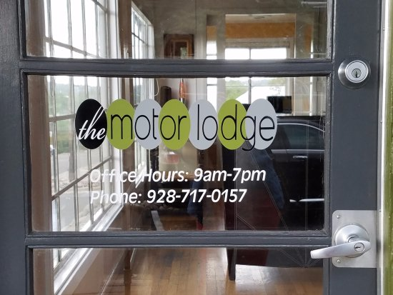 The Motor Lodge: front office door