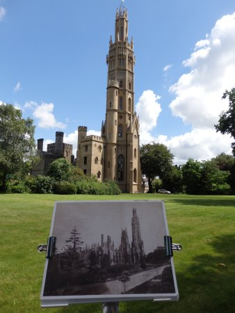 Hadlow, UK: The present tower and a sketch of it as it originally was