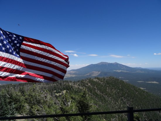 Red Garter Inn: View of the San Francisco Peaks from the Lookout Tower high atop Kendrick Mountain, a 9.5 mile h