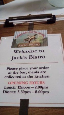 Corryong, ออสเตรเลีย: Jack's Bistro menu