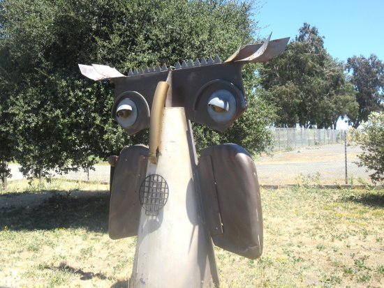 Suisun City, Kalifornien: Owl Statue, Suisun Wildlife Center, Suisun, CA