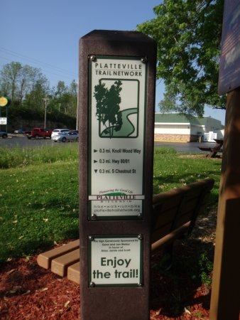 Super 8 Platteville: Trail marker, from public Platteville trail easily accessible from hotel property