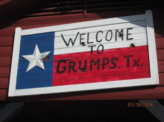 Grumps Burgers: Sign above the front door.