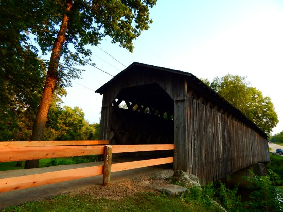 Cedarburg Covered Bridge: View at the end of the Bridge.