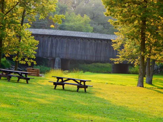Cedarburg Covered Bridge: A view of the Bridge from Covered Bridge Park.