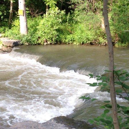 Stream running along the road in Skaneateles Falls.