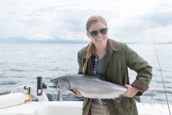 แคมป์เบลล์ริเวอร์, แคนาดา: Her first salmon