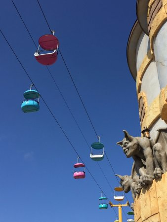 Santa Cruz Beach Boardwalk: The sky ride and gargoyle