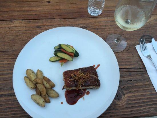 ophelia's: Amazing food, blue fin tuna tostadas, local white wine, blue fin tuna sashimi and yellow tail wi