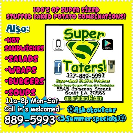 Scott, Λουιζιάνα: Super Sized Stuffed Baked Potatoes, Soups, Salads, Burgers, Wraps!