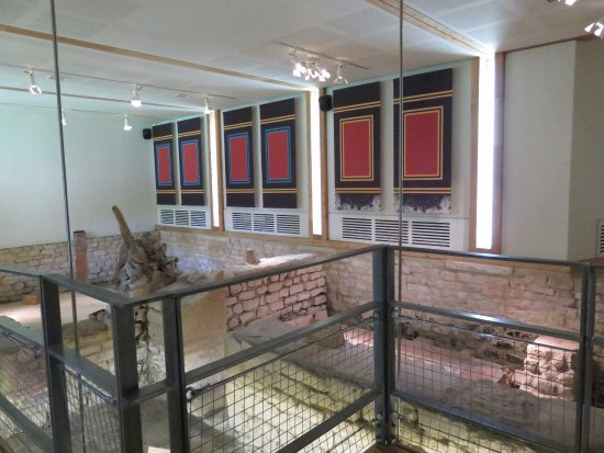 Yanworth, UK: viewing platform for mosaics
