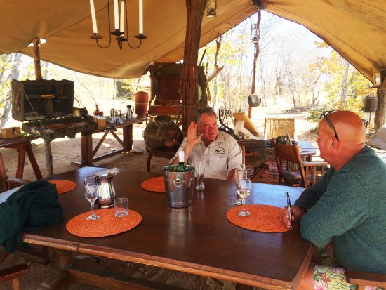 Hwange National Park, Zimbabwe : this is the dining and living area - real personal attention to detail with wonderful furniture