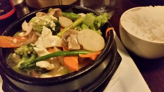 Gingerootz Asian Grille: Korean Tofu Hotpot with rice