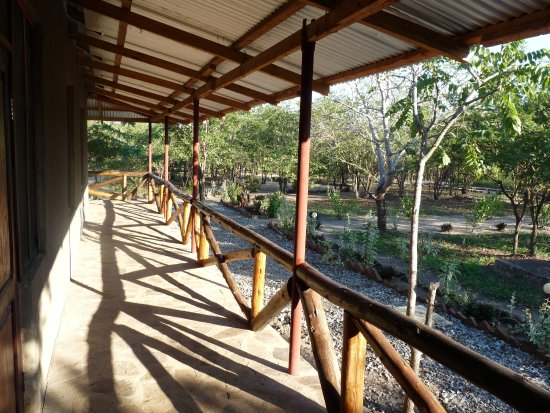 Mikumi National Park, Tanzanie : The verandah on our house which was provided with chairs and a couch.