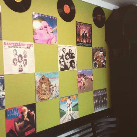 The records wall at Slick Rick's