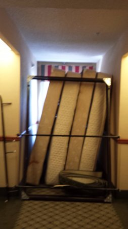 Latta, SC: Mattresses and frames that blocked our room door when we tried to leave
