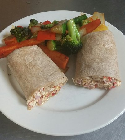 Winthrop, MA: Egg white western sandwich on wheat wrap with side grilled  veggies