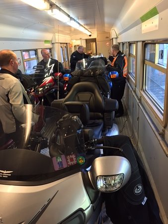 Frutigen, Swiss: A standard width passenger carraige accessed through two small doors - a Goldwing JUST fits !!