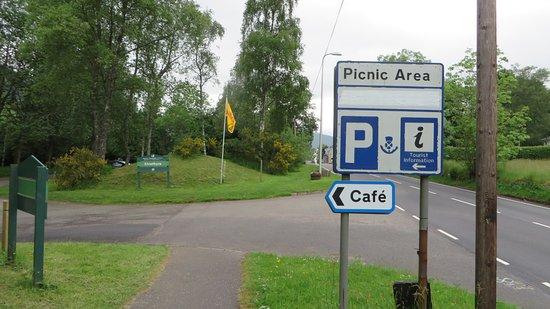 Strathyre, UK: Hinweisschild zum Cafe