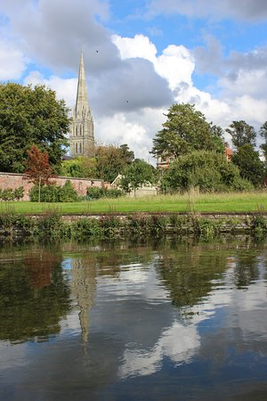 A picture from our chauffeured punt trip of Salisbury Cathedral