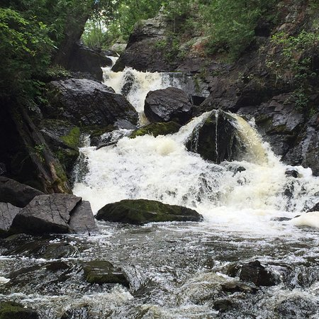 Pembine, WI: Shot from the bottom of the falls