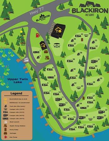 Hayward, Wisconsin: Resort Site Map - 40+ spacious sites!