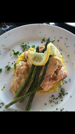 Hillsville, VA: Salmon with crab meat over risotto with asparagus