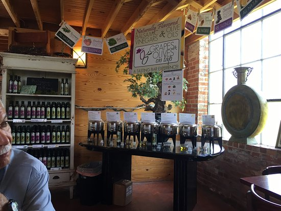 Columbia, NC: The olive oil and vinegar bar.