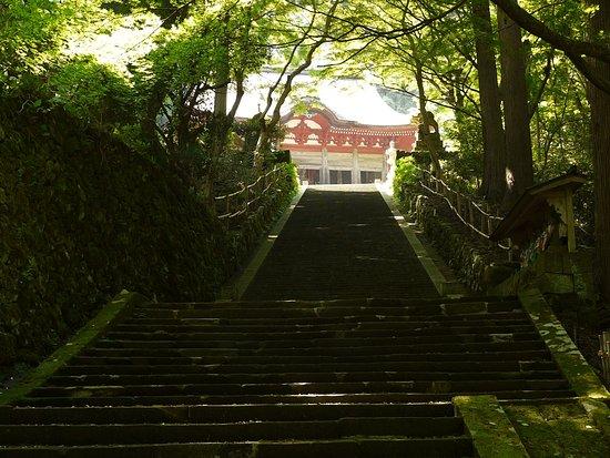 Gakuenji Temple: 奥にあるのが根本堂。最後にこの長い石段があります。