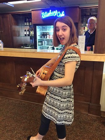 Cedarburg Cultural Center : A young performer about to go on at the Blueburg Cafe, Cedarburg's Open Mic night.