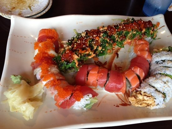 Saco, ME: Specialty sushi (Titanic - top, Spider - right)