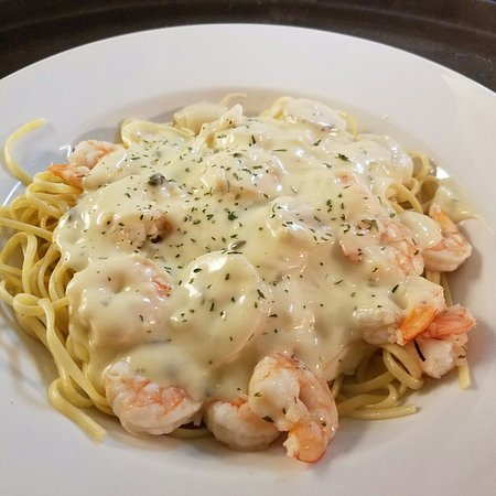 Hagerstown, MD: Shrimp and Scallops over Pasta New York Strip Steak